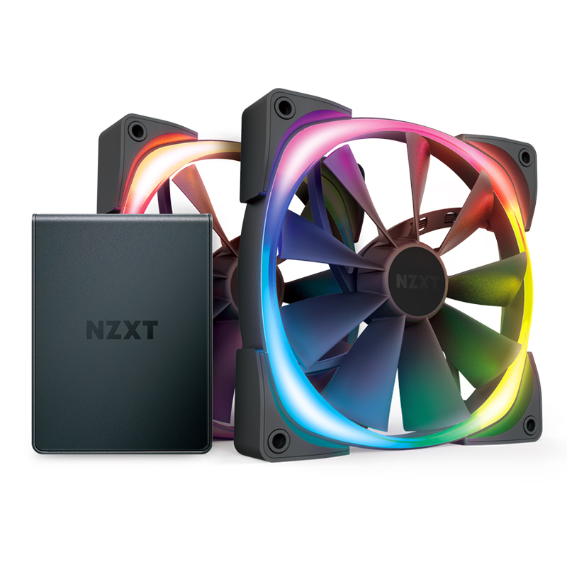 NZXT 140mm Aer RGB 2 PWM 1500RPM Fan 2 Pack With HUE 2 Lighting Controller