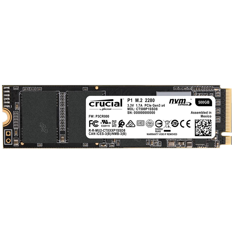 Crucial P1 500GB 3D NAND NVMe PCIe M.2 SSD