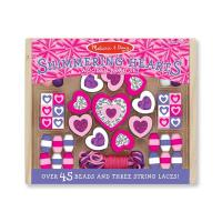 Melissa & Doug Wooden Shimmering Hearts Bead Set