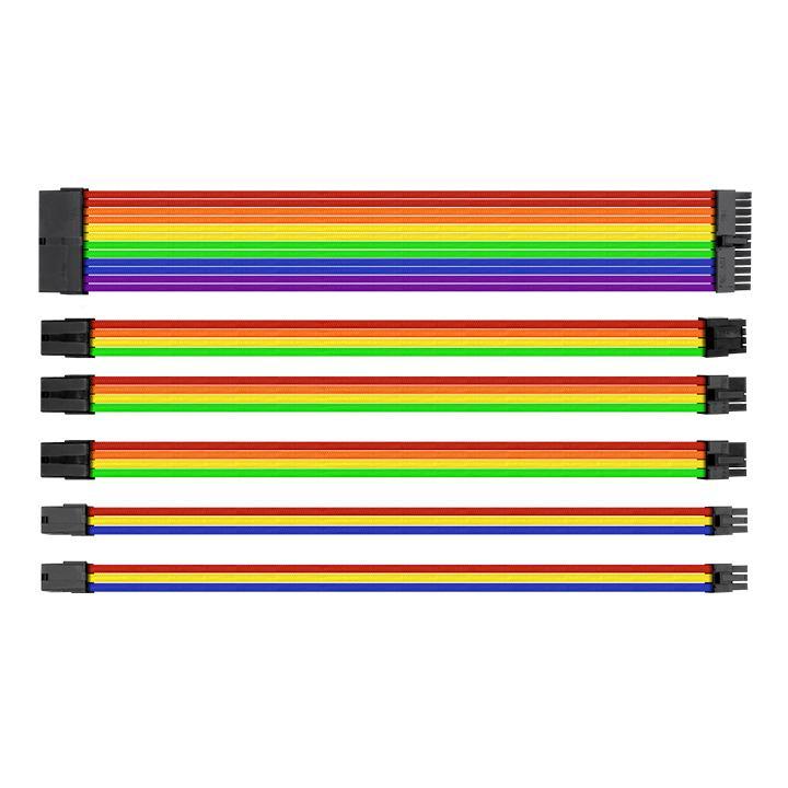 Thermaltake TTMod Sleeved Extension Cable Kit - Rainbow