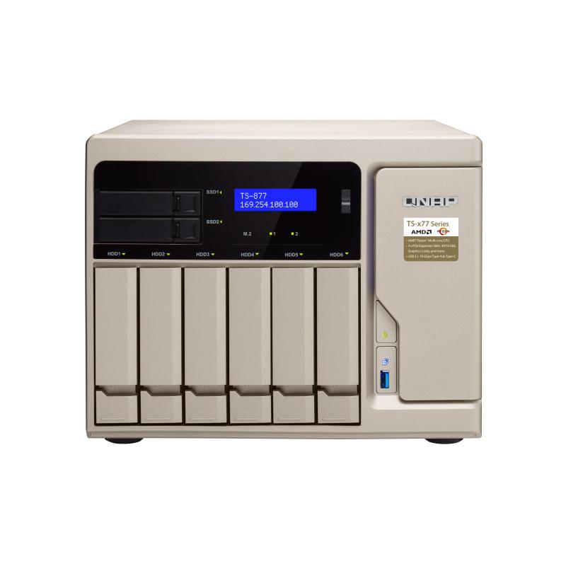 QNAP TS-877-1600-8G 8 Bay NAS - AMD Ryzen 5 1600 6-Core CPU