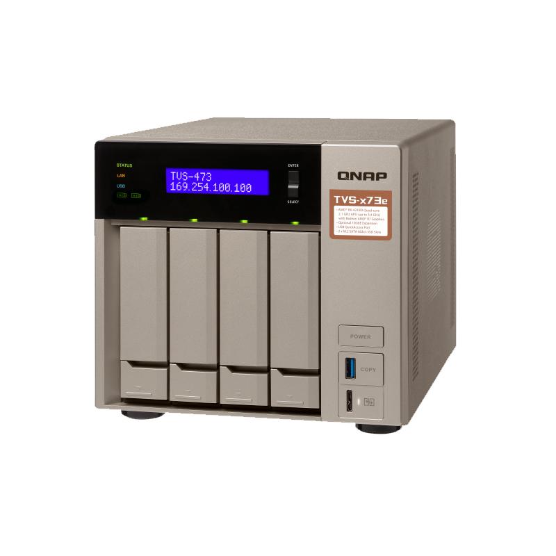 QNAP TVS-473e-8G 4 Bay Diskless NAS, AMD RX-421ND 2.1-3.4 GHz, 8G