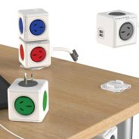 Allocacoc PowerCube Original 2 Outlets AU Outlets and 2 USB Ports with Built in Surge Protection Gre