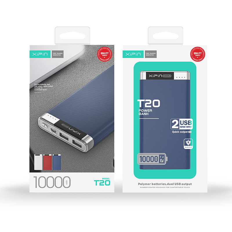 Xipin T20 10000mAh Dual USB Output Powerbank w Rubber Coat and Led Display Blue