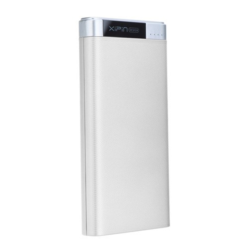 Xipin T20 10000mAh Dual USB Output Powerbank w Rubber Coat and Led Display White
