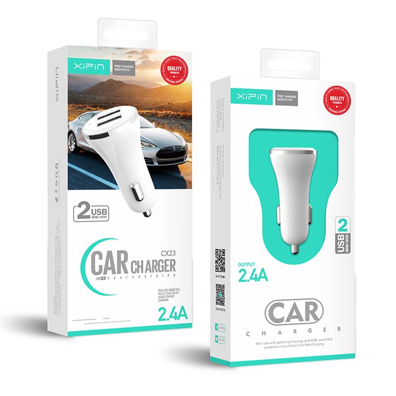 Xipin CX23 5V2.4A Dual USB Output Car Charger mini Design White