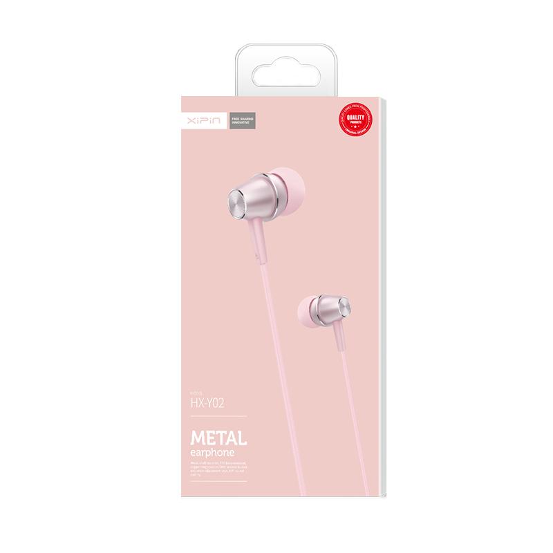 Xipin HX-Y02 PK 1.2M 3.5mm Hi-Fi In-ear Earphone with Speaker and Slide Volume Control Pink