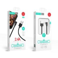 Xipin LX17-IL 1.2m Nylon Fabric L-Shaped 2.4A USB A to Lightning Cable Black