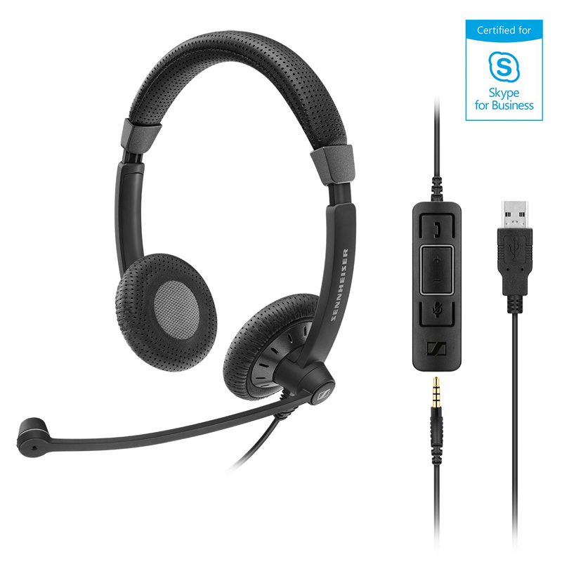 Sennheiser SC 75 Binaural Wired Office Headset with 3.5mm Jack and Detachable USB Control - Skype Business Certified