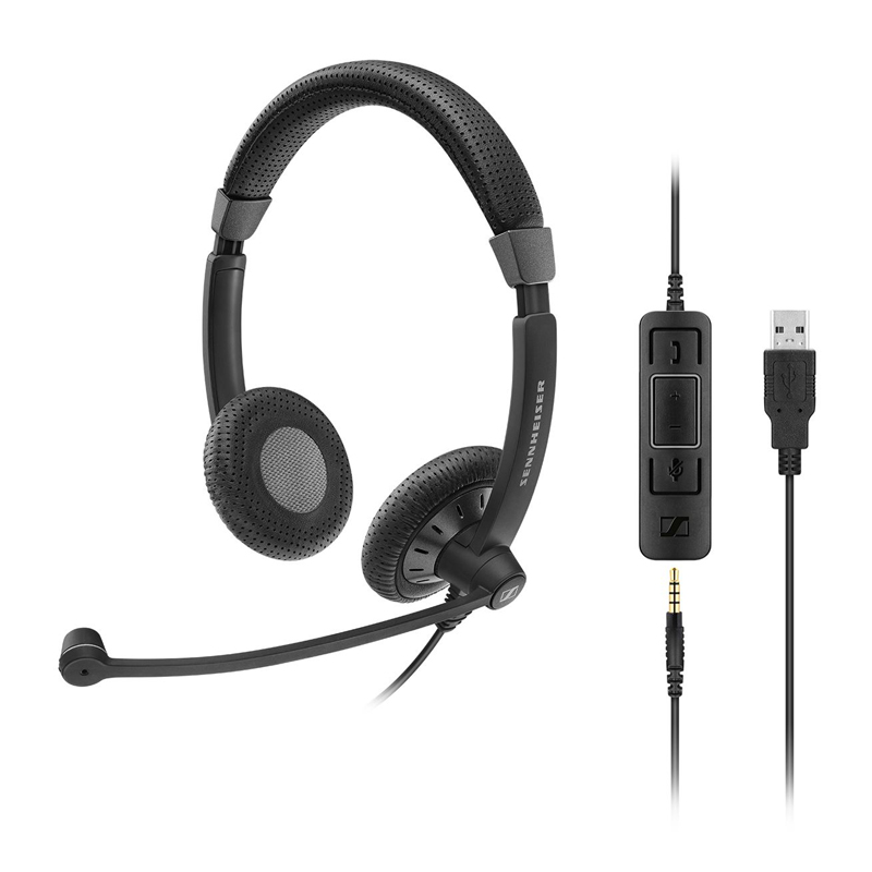 Sennheiser SC 75 Binaural Wired Office Headset with 3.5mm Jack and Detachable USB Control