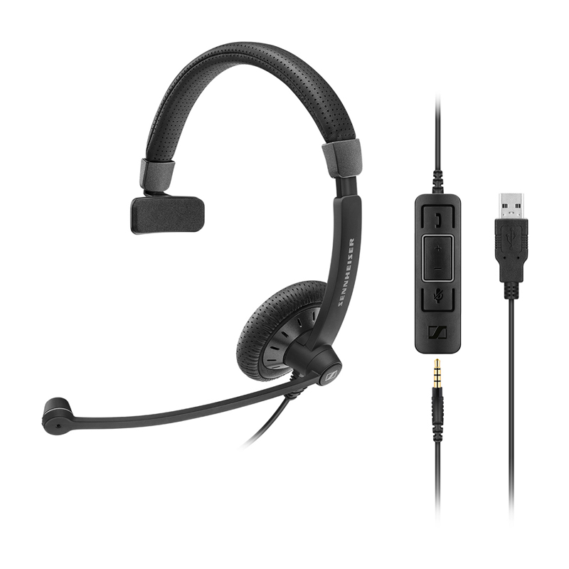Sennheiser SC 45 Monaural Wired Office Headset with 3.5mm Jack and Detachable USB Control