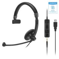 Sennheiser SC45 Monaural Wired Office Headset with 3.5mm Jack and Detachable USB Control - Skype Business Certified
