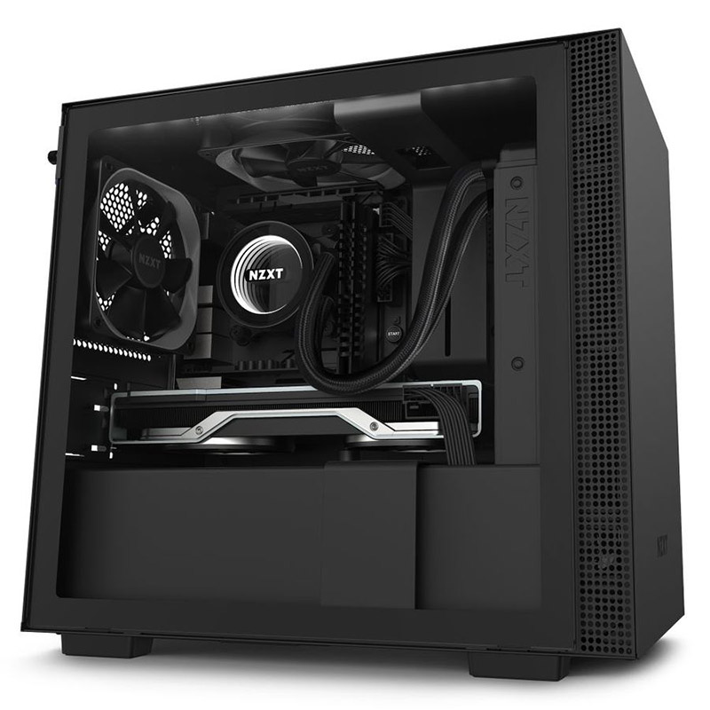 NZXT H210i Smart Tempered Glass Mini Tower ITX Case - Matte Black