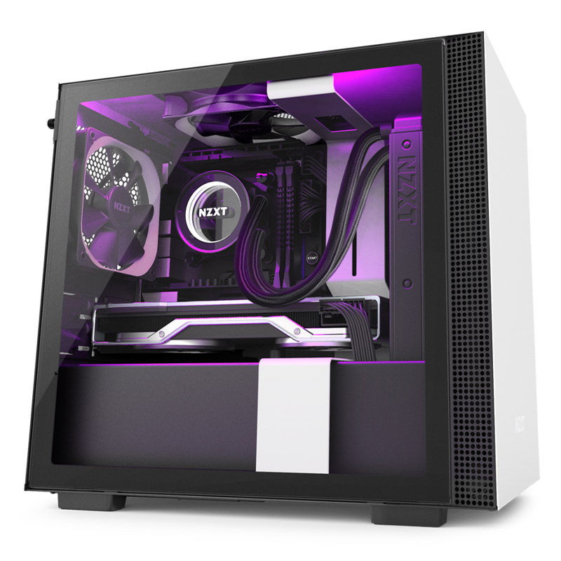NZXT H210i Smart Tempered Glass Mini Tower ITX Case - Matte White
