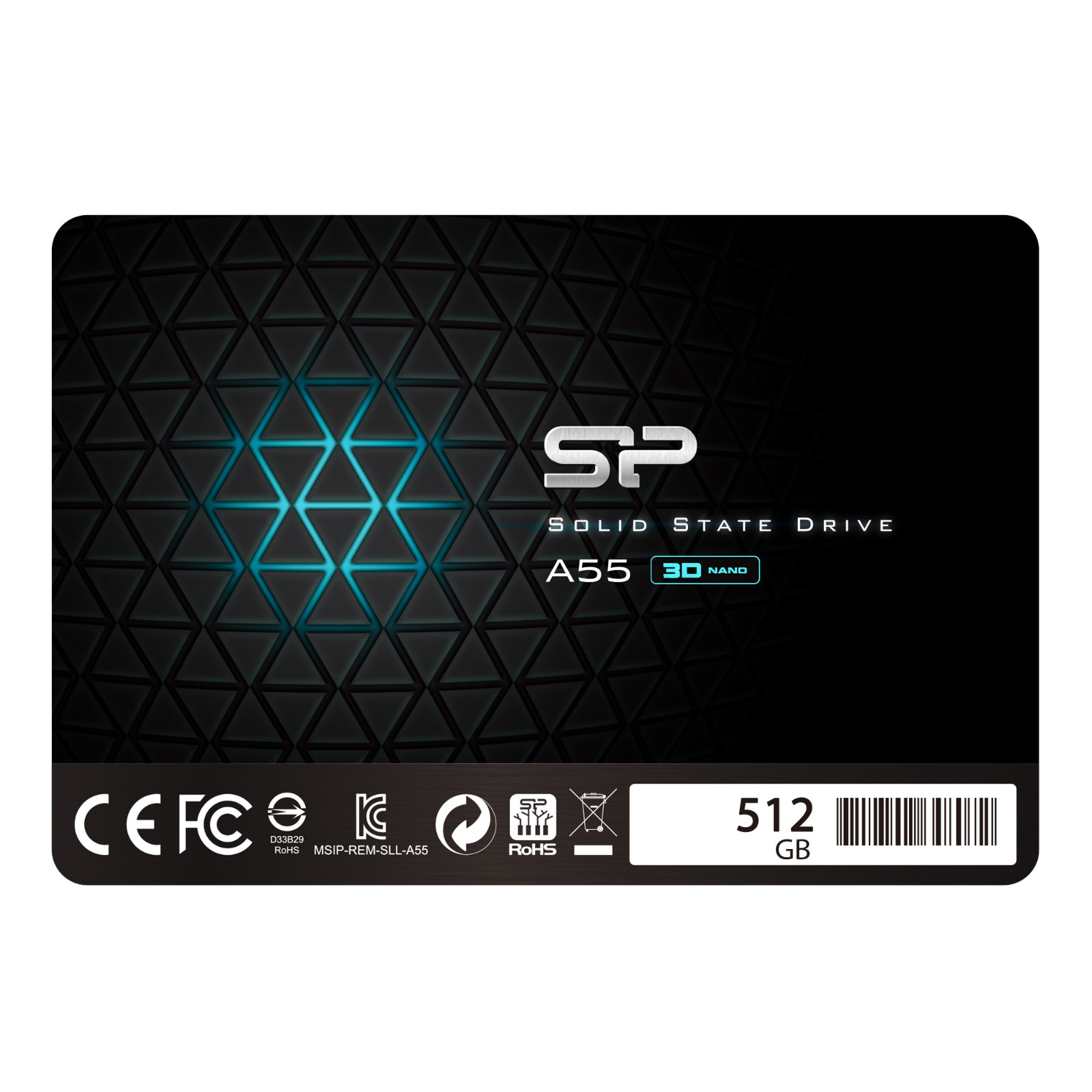 """Silicon Power 512GB SSD 3D NAND A55 SLC Cache Performance Boost SATA III 2.5"""" 7mm (0.28"""") SP512GBSS3A55S25"""