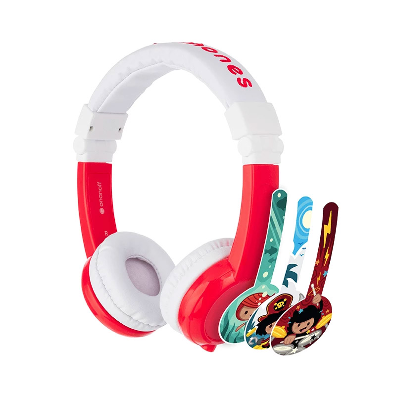BuddyPhones Explore Kids Volume Limiting Foldable Headphones - Red