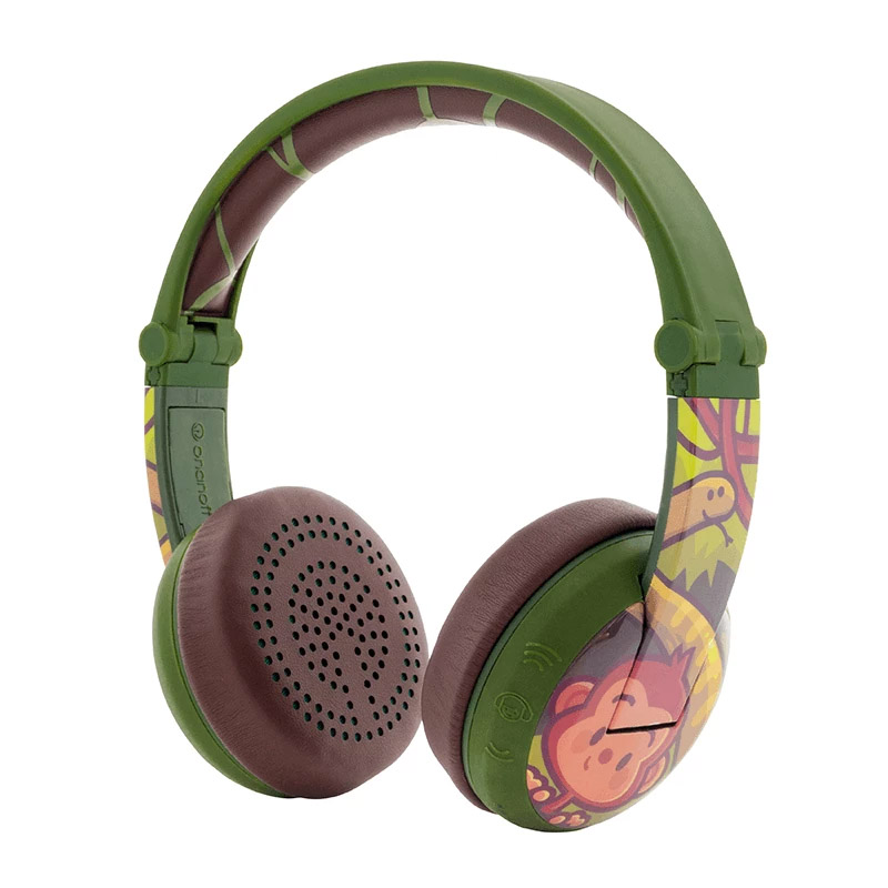 BuddyPhones Wave Kids Volume Limiting Waterproof Wireless Headphones - Green Monkey