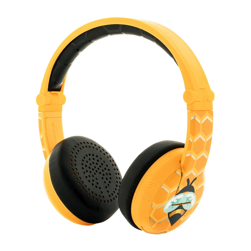 BuddyPhones Wave Kids Volume Limiting Waterproof Wireless Headphones - Yellow Bee
