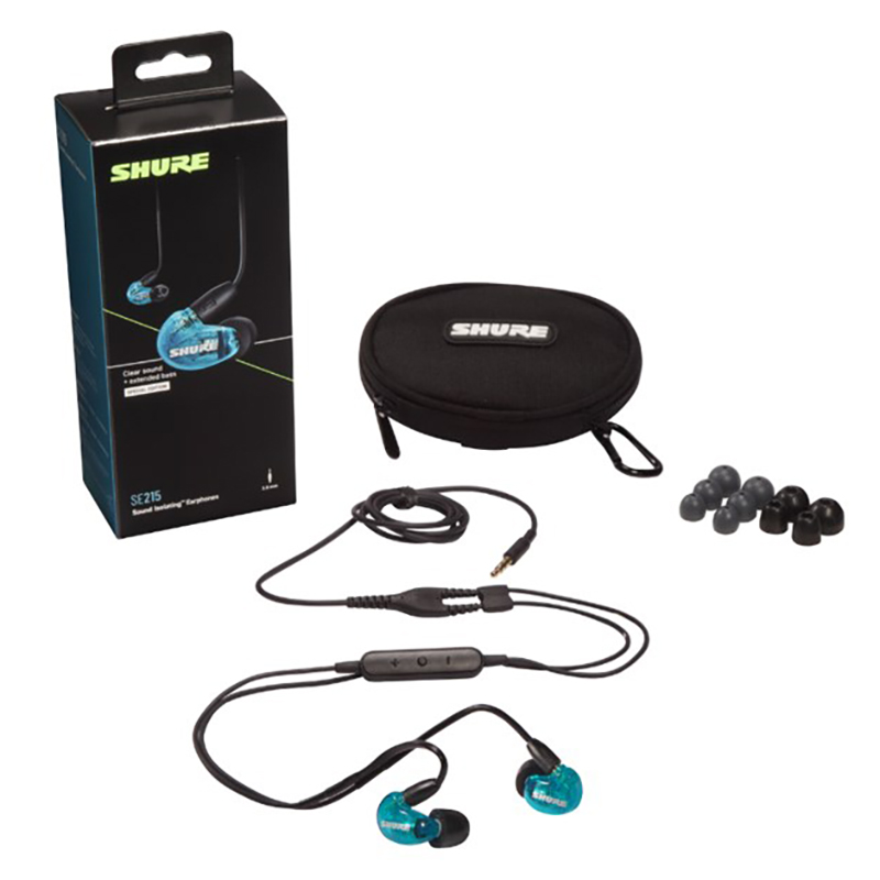Shure SE215 Wired Earphones - Blue (UNI Cable)
