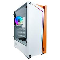 AZZA Apollo 430 ARGB Tempered Glass ATX Case - White and Orange (No Fan)
