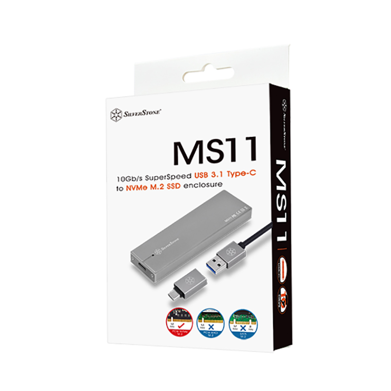 SilverStone M.2 PCIE SSD to USB 3.1 Enclosure - Charcoal (SST-MS11C)