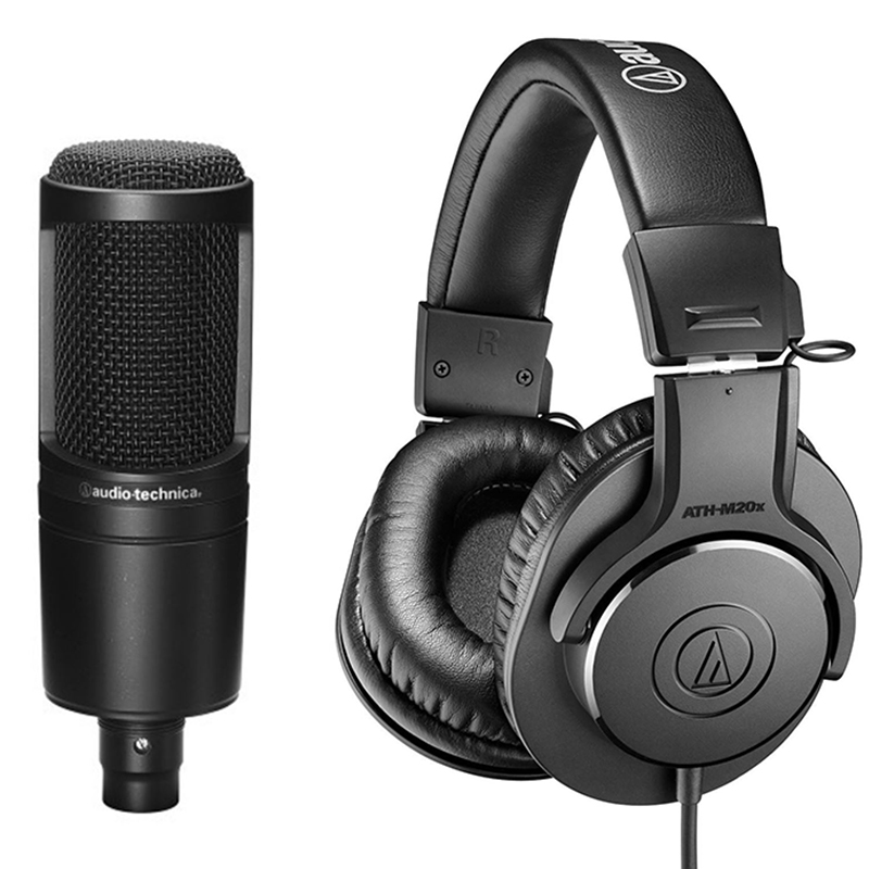 Audio Technica Microphone and Headphone Studio Recording Combo (AT2020/M20X)