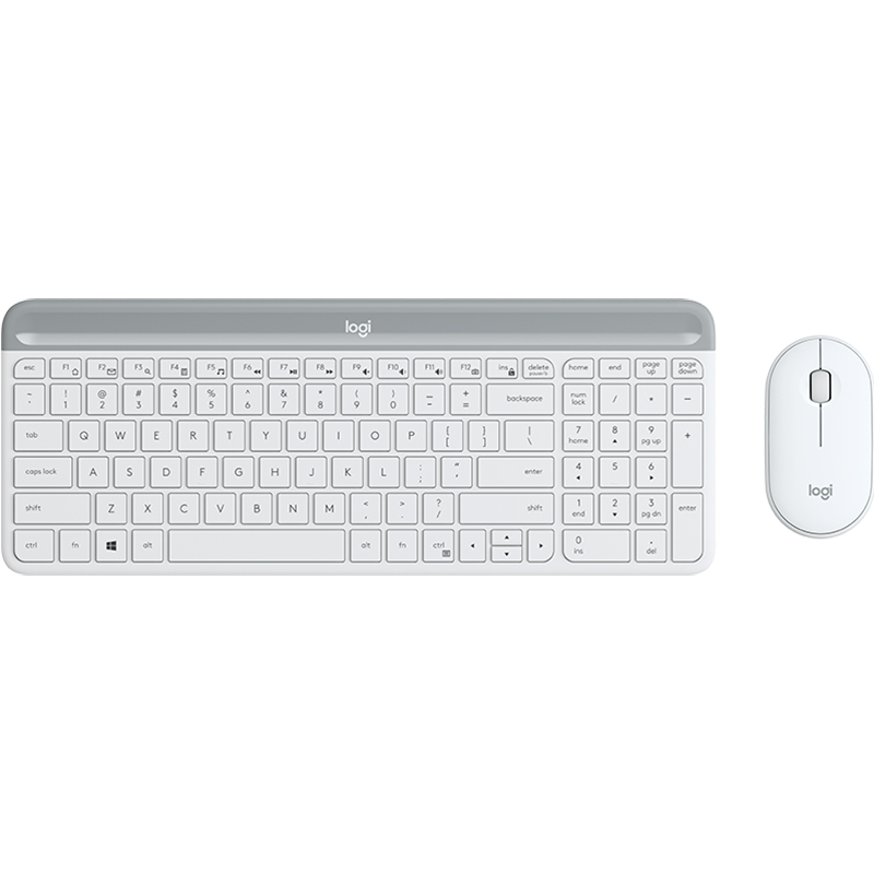 Logitech MK470 Slim Wireless Keyboard and Mouse Combo - White
