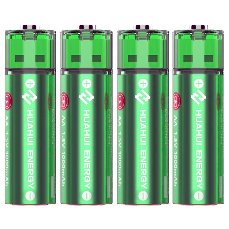 HUAHUI AA USB Rechargeable 1000mAh Lithium Battery - 4 Pack