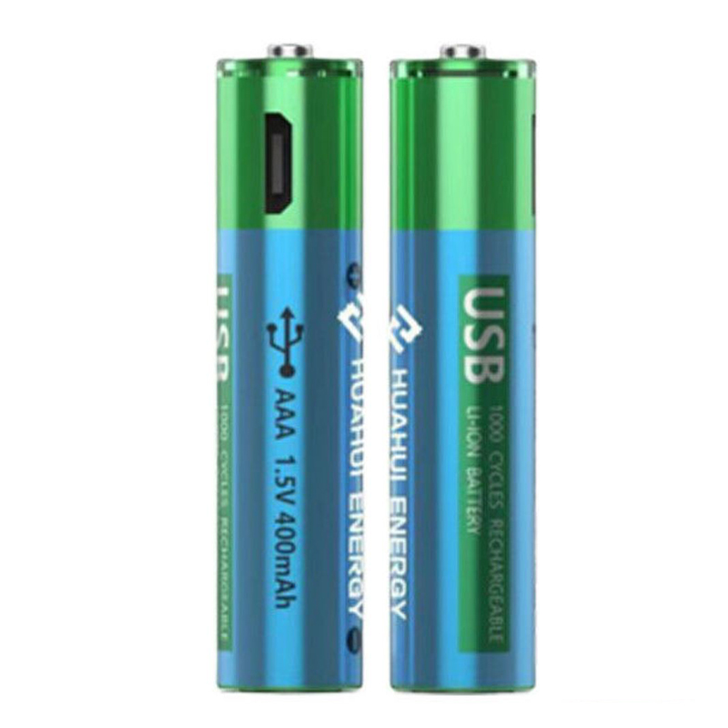 HUAHUI AAA USB Rechargeable 400mAh Lithium Battery - 2 Pack
