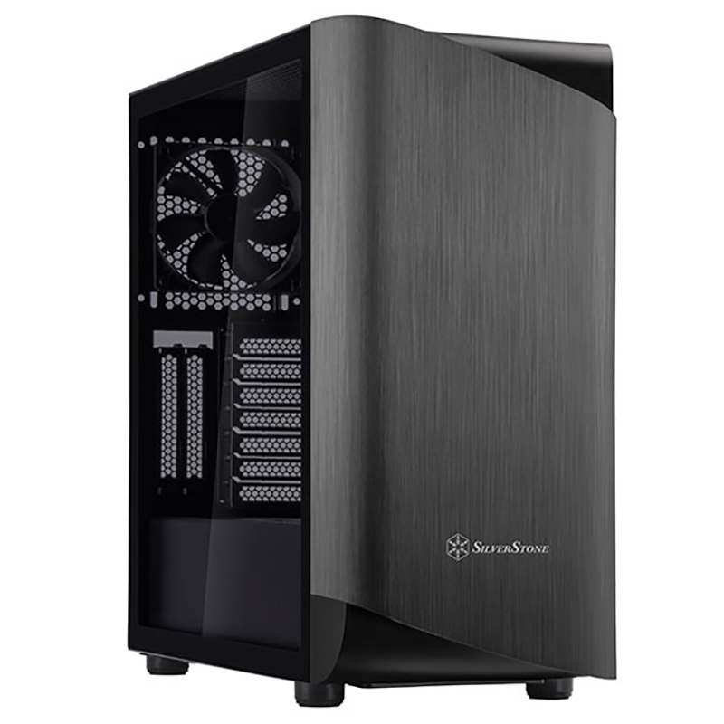SilverStone Seta A1 Tempered Glass Mid Tower ATX Case - Titanium/Black
