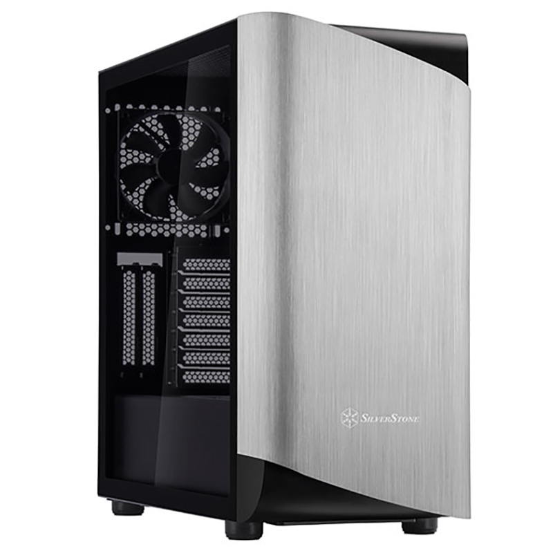 SilverStone Seta A1 Tempered Glass Mid Tower ATX Case - Silver/Black