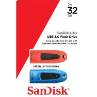 Sandisk 32GB CZ48 Ultra USB 3.0 Flash Drive - 2pk Blue and Red