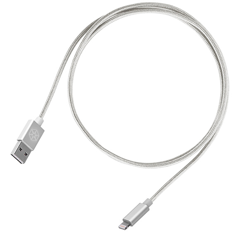 Silverstone CPU01 Reversible USB A to Micro USB 1m Cable - Silver