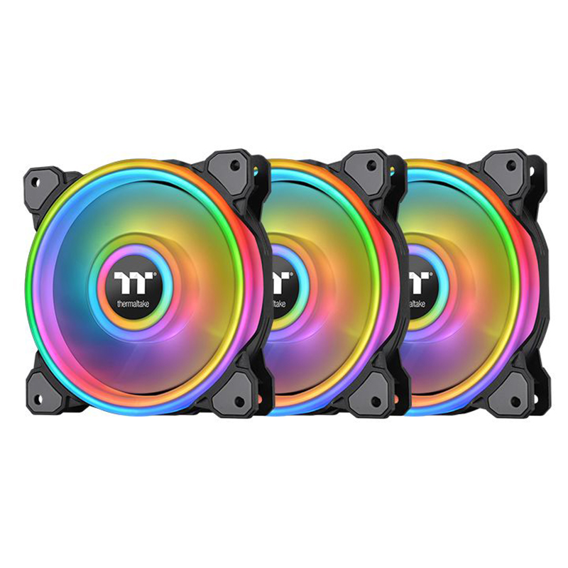 Thermaltake Riing Quad 14 140mm RGB Radiator Fan TT Premium Edition Black - 3 Pack