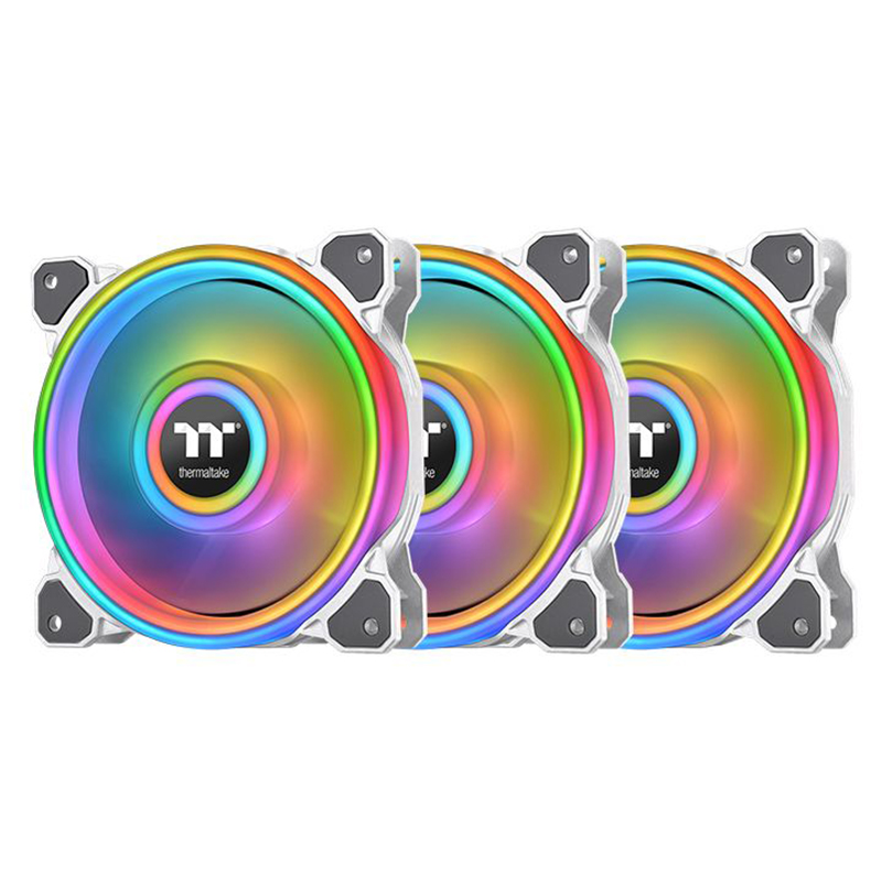 Thermaltake Riing Quad 12 120mm RGB Radiator Fan TT Premium Edition White - 3 Pack
