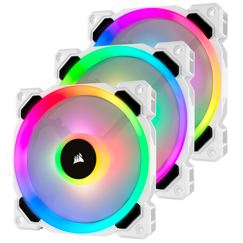 Corsair LL120 RGB 120mm Dual Light Loop PWM Fan White with Lighting Node Pro - 3 Pack