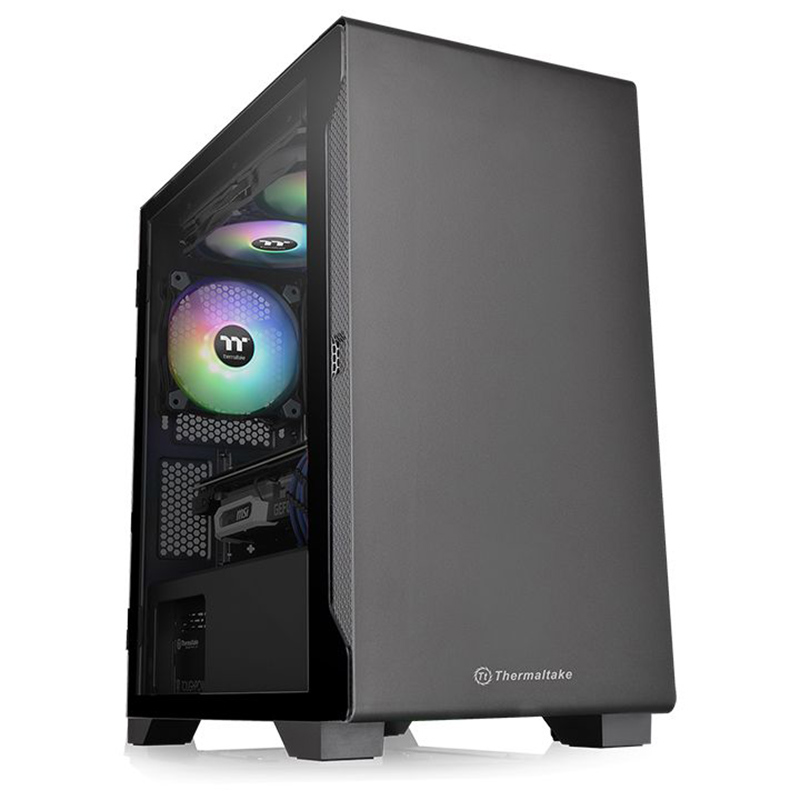 Thermaltake S100 Tempered Glass Micro ATX Case - Black