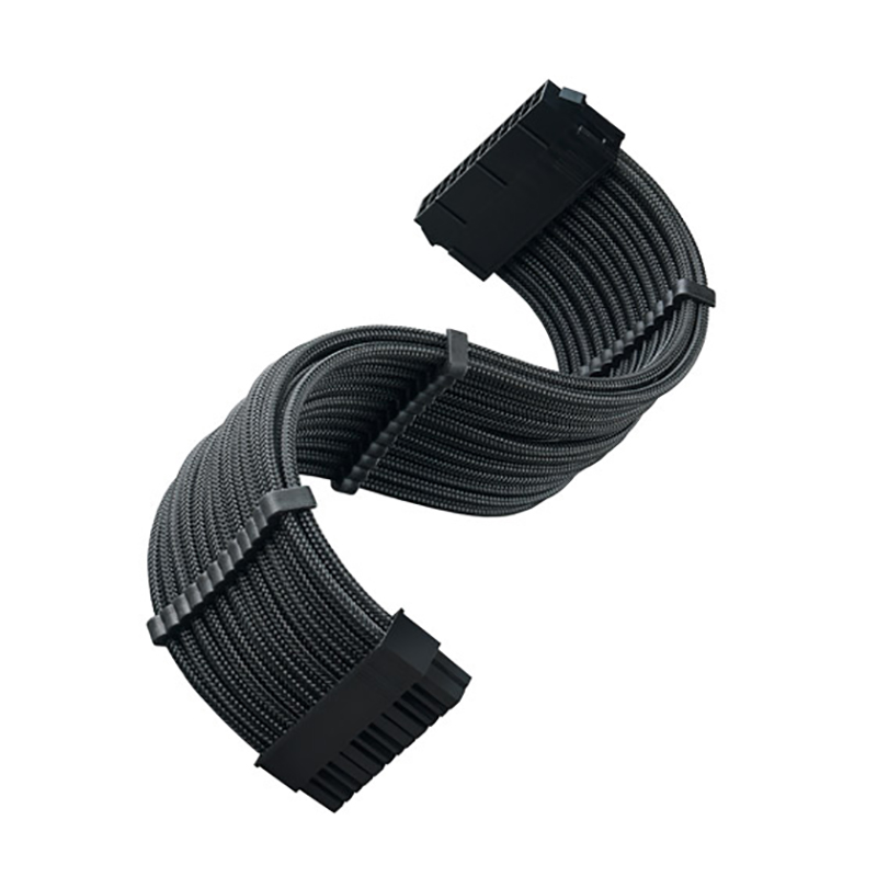 SilverStone PP07E-MBB 24 Pin ATX Sleeved Power Extension Cable - Black