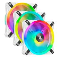 Corsair iCUE QL120 RGB 120mm PWM Fan White with Lighting Node Core- 3 Pack