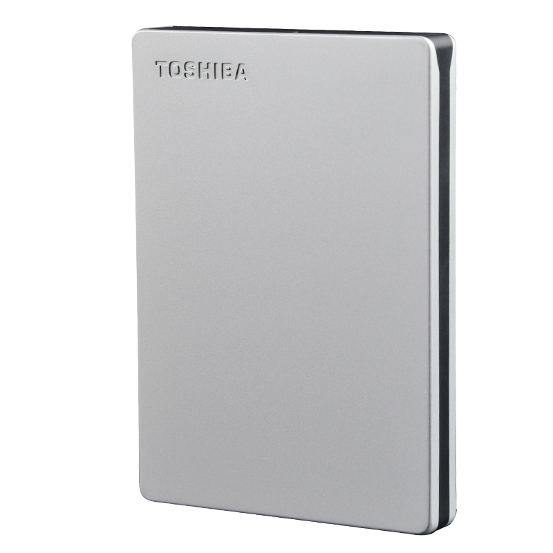 Toshiba 1TB Canvio Slim 2.5in USB 3.0 External Hard Drive - Silver Metallic