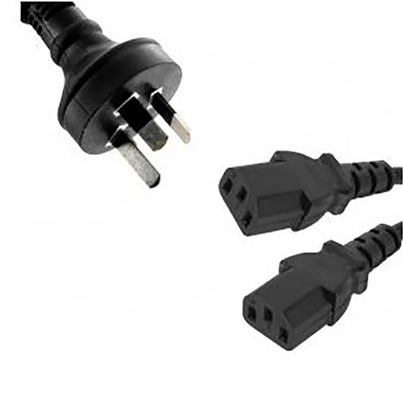 Power Cable 3-Pin AU Male to 2 IEC C13 Female Plug 3m