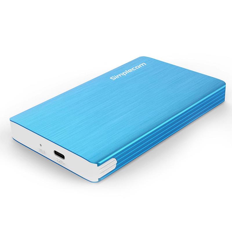 Simplecom SE220 Aluminium 2.5in SATA to USB 3.1 Type C Enclosure - Blue