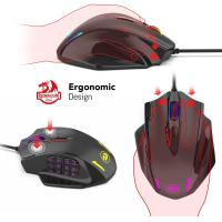 Redragon M908 Impact RGB LED MMO Mouse with Side Buttons Optical Wired Gaming Mouse with 12,400DPI