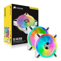 Corsair iCUE QL140 RGB 140mm Fan White - 2 Pack with Lighting Node Core