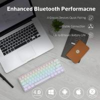 ANNE PRO 2 60% Bluetooth Mechanical Keyboard, Gateron Blue Switch, White Case