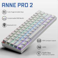 ANNE PRO 2 60% Bluetooth Mechanical Keyboard, Gateron Red Switch, White Case