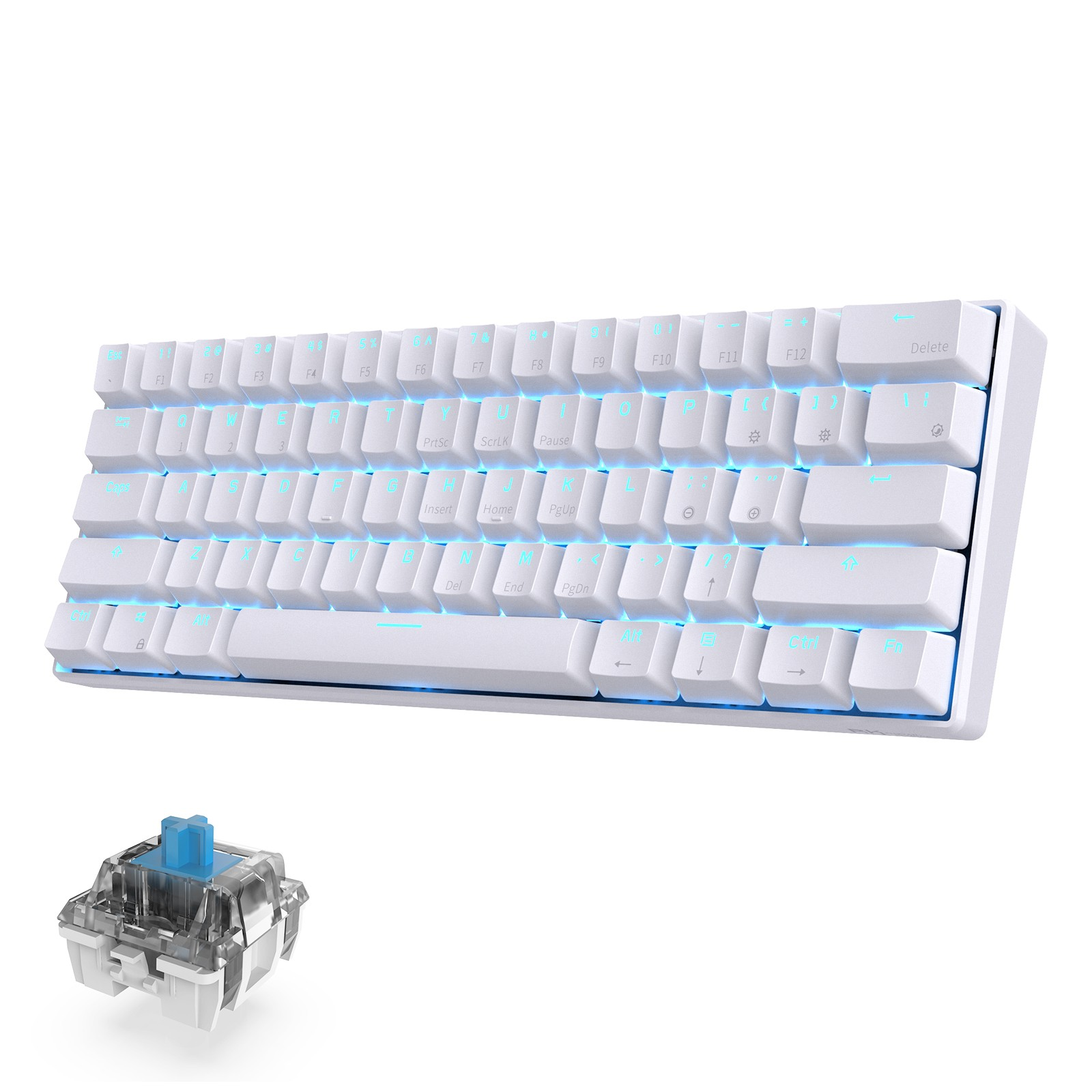 RK ROYAL KLUDGE RK61 Wireless 60% Mechanical Gaming Keyboard, Blue Switch