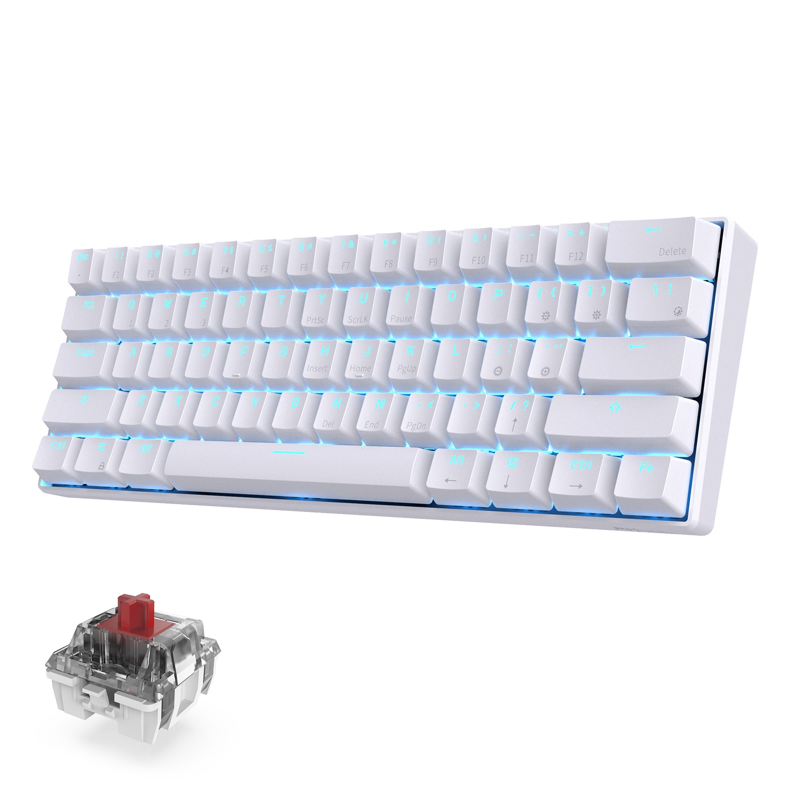 RK ROYAL KLUDGE RK61 Wireless 60% Mechanical Gaming Keyboard, Red Switch