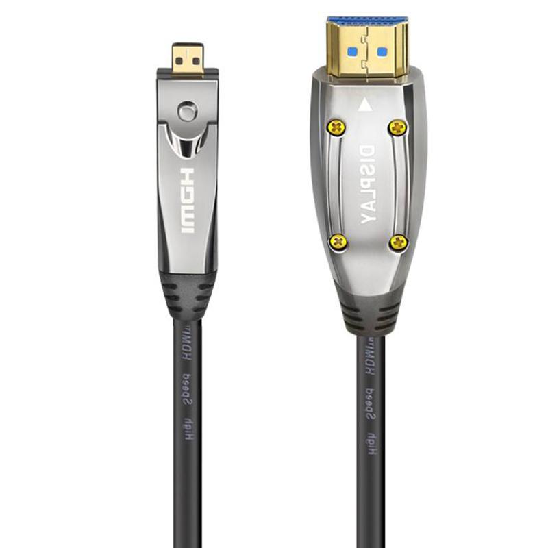 Cruxtec HDMI 2.0 to Mini HDMI Optical Fiber Cable 10m with Mini HDMI to HDMI Adapter