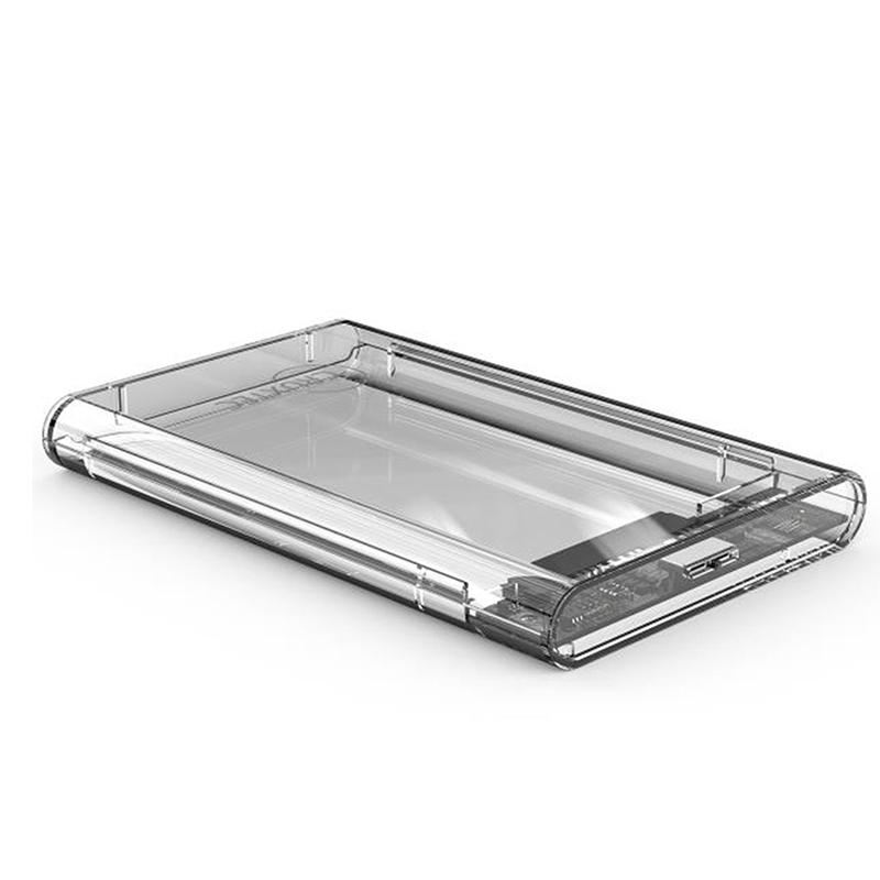 Cruxtec 2.5in SATA to USB 3.1 Type C Hard Drive Enclosure - Clear